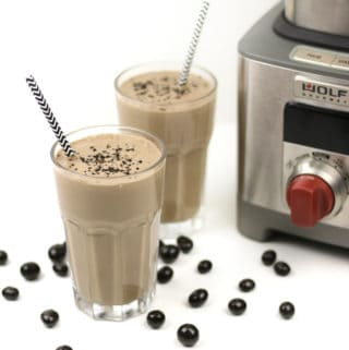 Vegan Mocha Latte Smoothie are a healthful way to begin the day. Packed with protein and nutrients from bananas, peanut butter, non-dairy yogurt, almond milk, chia seeds and tofu, this smoothie's got a bit of caffeine from real cocoa and coffee or espresso to boot. This is a blender breakfast that'll boost your morning right. (via feastandwest.com)