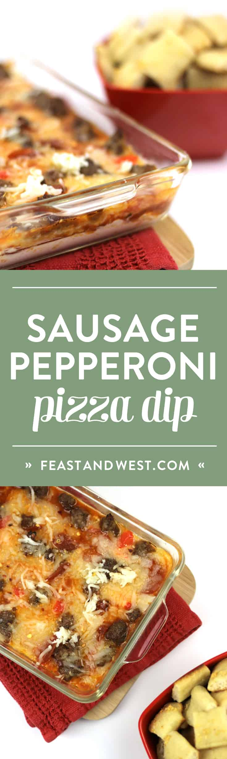 Sausage Pepperoni Pizza Dip is the true winner of any game day celebration. Make garlic pizza crust bites to scoop up these hot layers of cream cheese, pizza sauce, mozzarella cheese, pepperoni and Italian sausage. (via feastandwest.com)