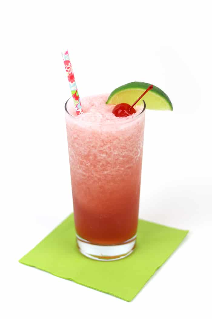 Cool down after a long day's work with Cherry Limeade Rum Slushies! Blend together tart cherry juice, fresh lime juice and Aquafina Sparkling for an icy libation sure to help you celebrate a job well done. (via feastandwest.com)