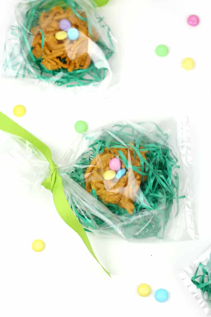 "Whimsical and colorful, these Peanut Butter Butterscotch Nest Cookies are an adorable seasonal treat. Made with M&M'S® Milk Chocolate as the ""eggs,"" serve these at any spring gathering or gift them in an Easter basket! AD (via feastandwest.com)"