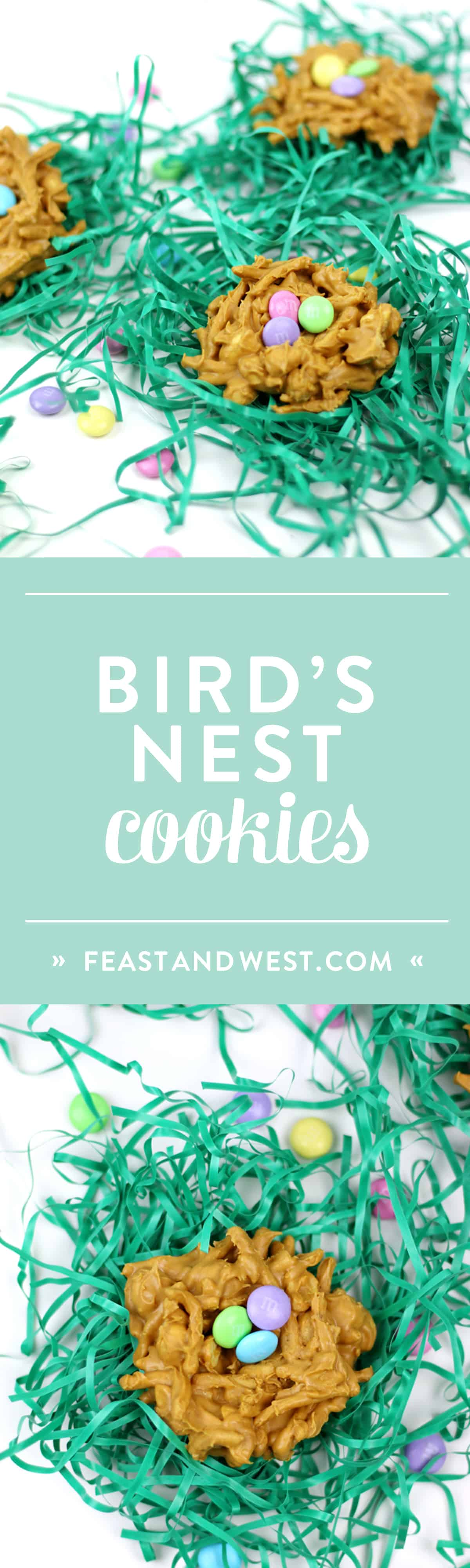 "Whimsical and colorful, these Peanut Butter Butterscotch Nest Cookies are an adorable seasonal treat. Made with M&M'S® Milk Chocolate as the ""eggs,"" serve these at any spring gathering or gift them in an Easter basket! (via feastandwest.com)"