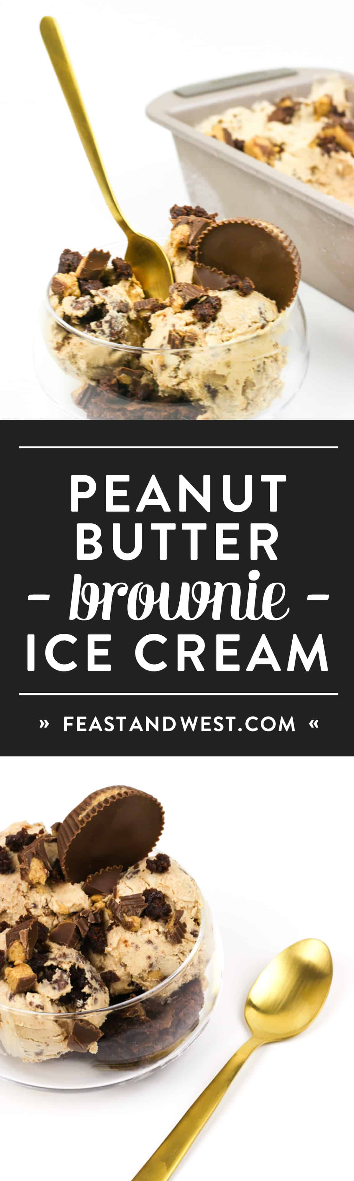 Peanut Butter Brownie Ice Cream is the stuff dreams are made of — if you love peanut butter and chocolate together. Lucious, creamy peanut butter ice cream is studded with fudgy brownie chunks and peanut butter cup pieces. (via feastandwest.com)