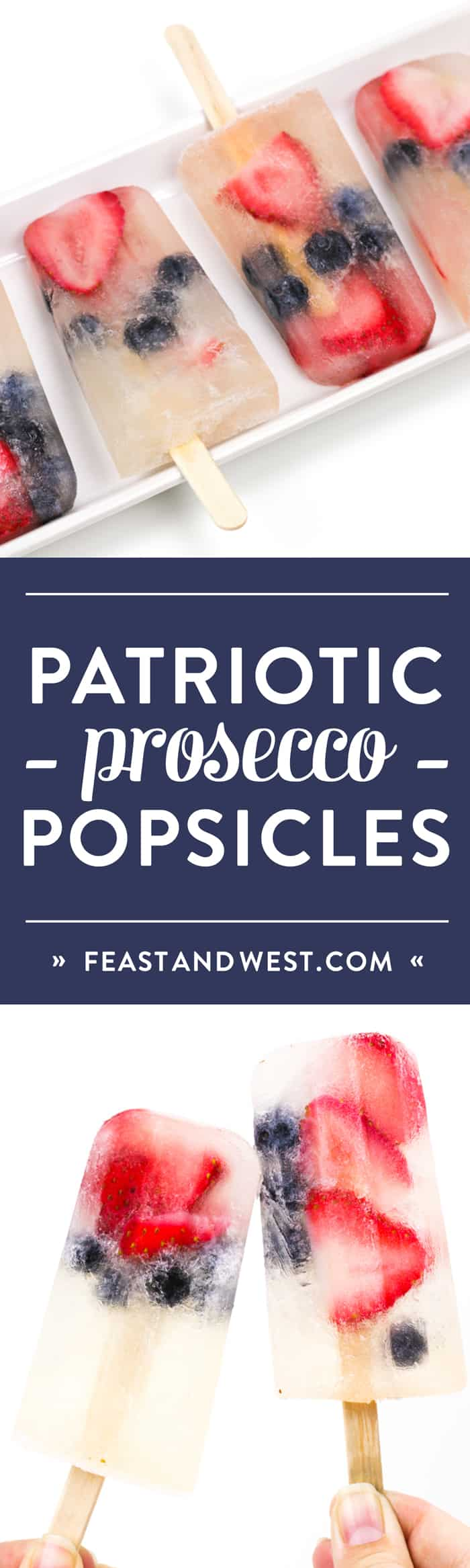 Boozy and patriotic Prosecco Popsicles are the cutest way to show your colors this holiday weekend! Berries and frozen champagne make for a darling red, white and blue treat you can enjoy anytime! Click through to watch the video! (via feastandwest.com)