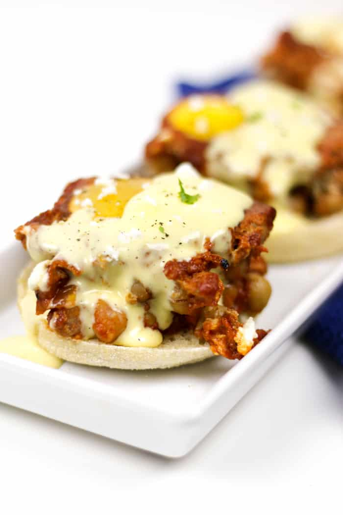 Make Shakshuka Eggs Benedict for a brunch or dinner dish that's sure to impress! Poach eggs in a chickpea tomato sauce, and serve them over toasted English muffins topped with drizzles of an easy hollandaise sauce and a sprinkle of feta cheese. (via feastandwest.com)