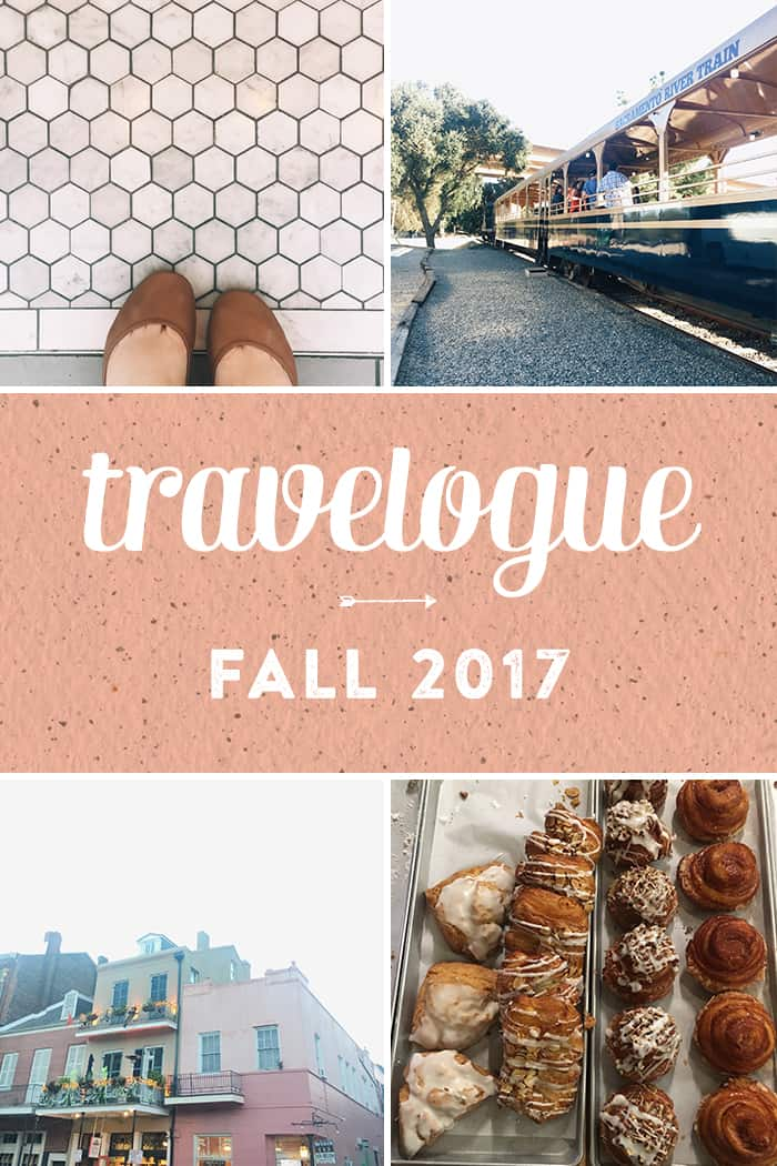 Here's my Fall Travelogue! Have a look at the things I did, ate, drank and saw over the last few months while traveling to California, Louisiana, Arkansas and Colorado!