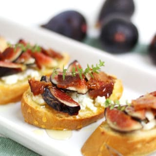 Fig, Goat Cheese, Bacon and Honey Crostini
