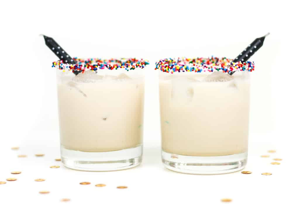 Celebrating another year? Blow out your candles, make a wish andtake a sip of a Birthday Cake White Russian! With extra sprinkles on the rim and a birthday candle cocktail stirrer, of course.(via feastandwest.com)