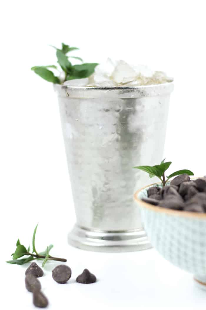 A twist on the classic Kentucky cocktail, the Chocolate Mint Julep is a sweet sipper for spring and summer. Made with a chocolate mint-infused syrup, oaky bourbon and a heap of crushed ice, this drink is perfect for horse-race-watching and summer cocktail parties. (via feastandwest.com)