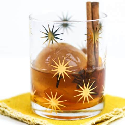 Chai Old-Fashioned Cocktail with Chai Ice Cubes