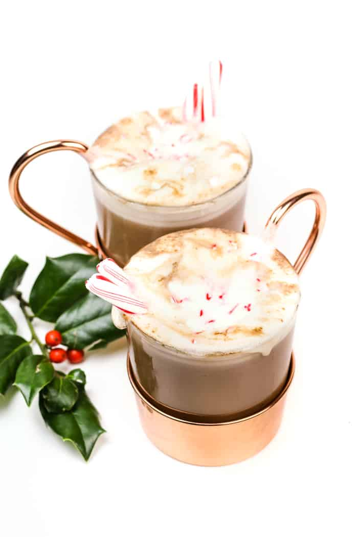 Warm up a winter evening with a mug of Spiked Peppermint Hot Chocolate. Featuring homemade peppermint vodka, this easy minty hot cocoa drink is made on the stove with real chocolate.(via feastandwest.com)