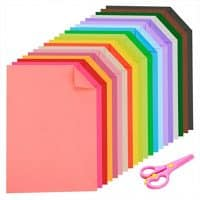 Caydo Double Sided Lightweight  Construction Paper A4 Coloured Paper 20 Colors 60 Sheets and 1 Pieces Plastic Safety Scissors