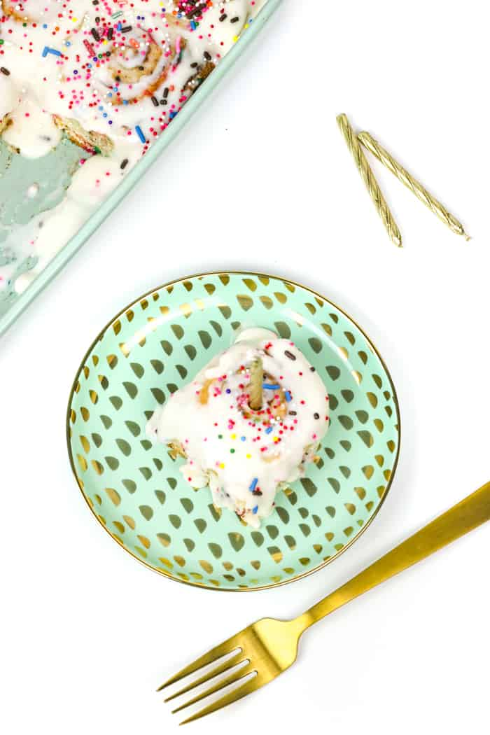 Birthday Cake Cinnamon Rolls are the best way to wake up on your birthday. Make these breakfast treats loaded with colorful sprinkles for yourself or anyone having a birthday to start the day, and year, off right! And don't forget to make a wish. (via feastandwest.com)