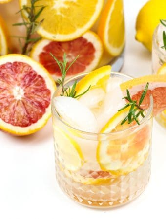 Brighten up your day with a batch of Winter Citrus Spa Water. With four kinds of citrus and sprigs of fresh rosemary, this water is both a beautiful centerpiece for a party and the most colorful way to increase your daily H2O intake. (via feastandwest.com)