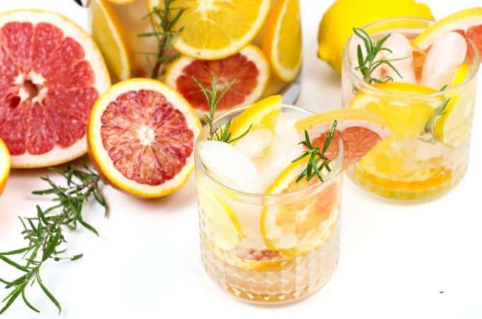 Brighten up your day with a batch of Winter Citrus Spa Water. With four kinds of citrus and sprigs of fresh rosemary, this water is both a beautiful centerpiece for a party and the most colorful way to increase your daily H2O intake.(via feastandwest.com)