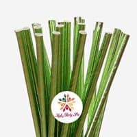 Lime Green Metallic Straws