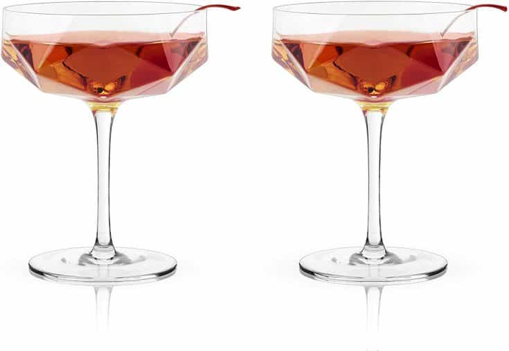Viski Raye Faceted Crystal Coupe, Rolling
