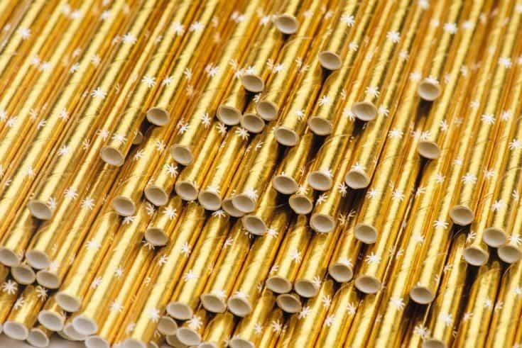 Sugar & ClothPaper Straws in Gold Starburst