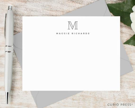Personalized Monogram Notecard Set by Curio Press
