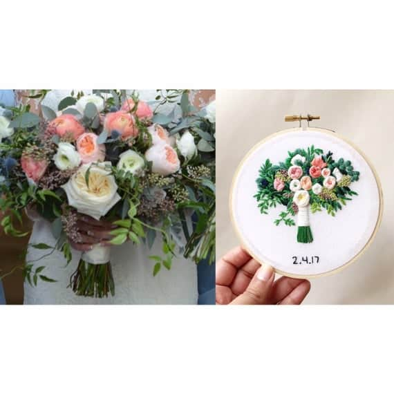 Wedding Bouquet Embroidery by KimArt