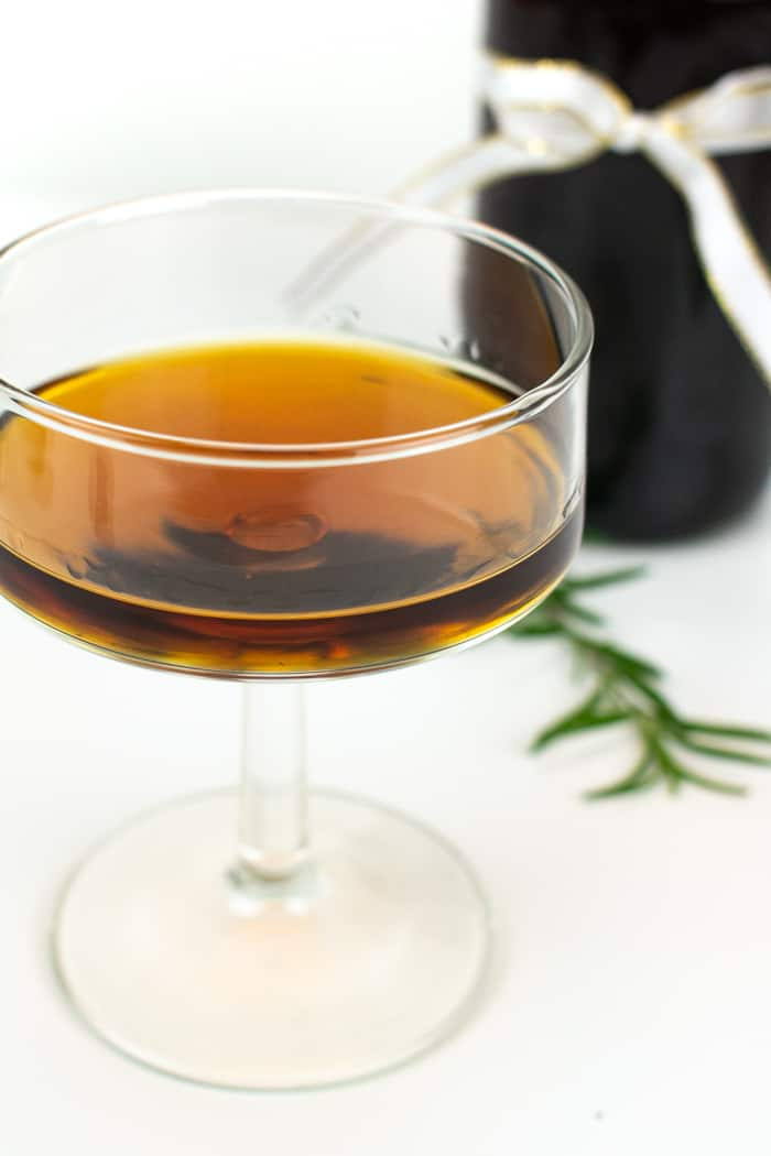 Infused plum brandy, served neat
