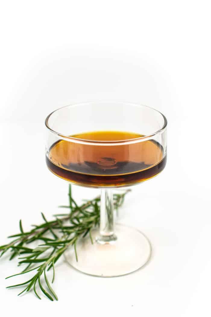 Plum brandy neat in a glass