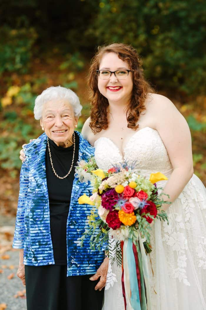 A photo of me and my grandmother at my wedding