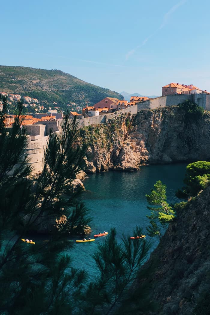Dubrovnik, Croatia city walls and kayakers