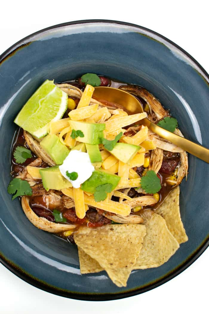 above view of bowls of easy chicken tortilla soup