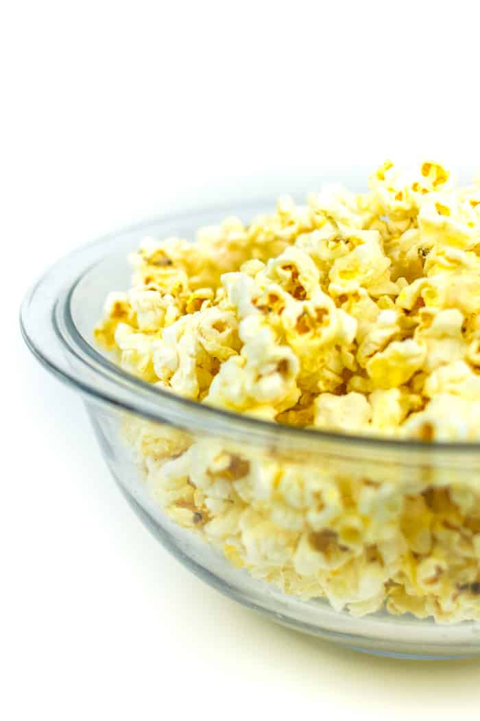 a bowl of movie theater butter popcorn