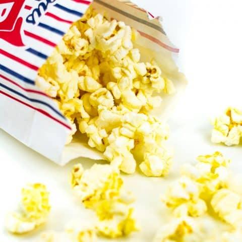movie theatre butter popcorn in a popcorn bag