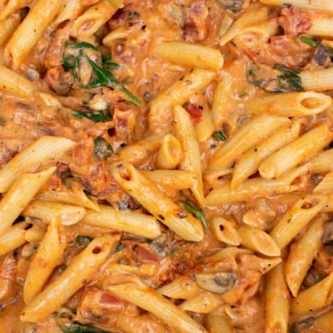 Close up of Penne pasta with rosa sauce