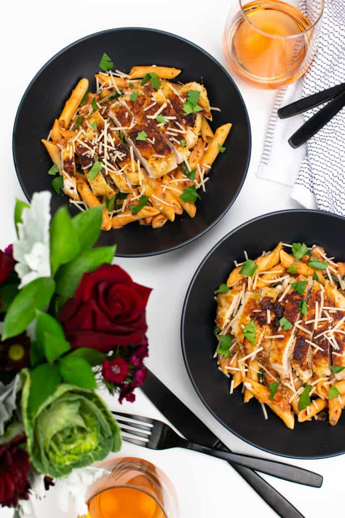 photo of penne rosa with parmesan crusted chicken
