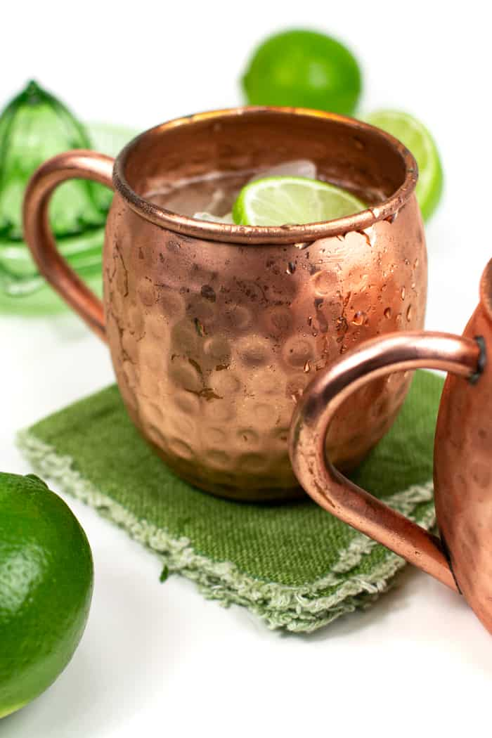 Irish mule recipe in a copper moscow mule mug