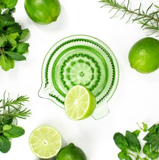herbs, limes and a green citrus squeezer on a white background