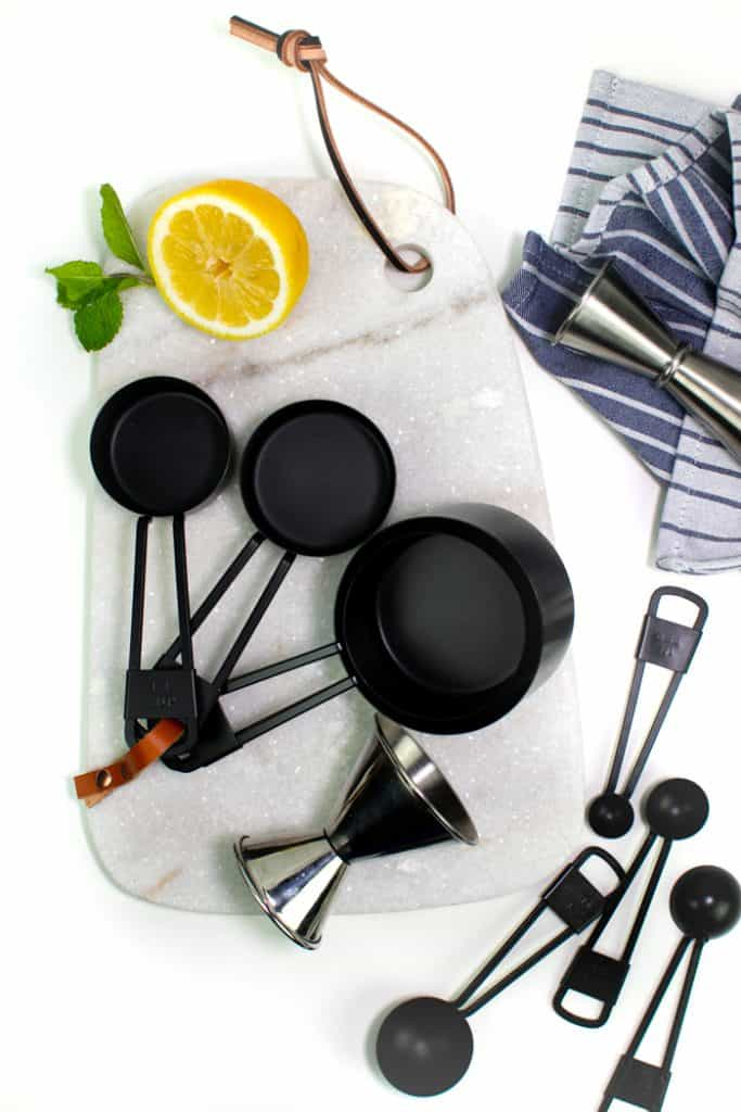jigger, measuring cups and measuring spoons