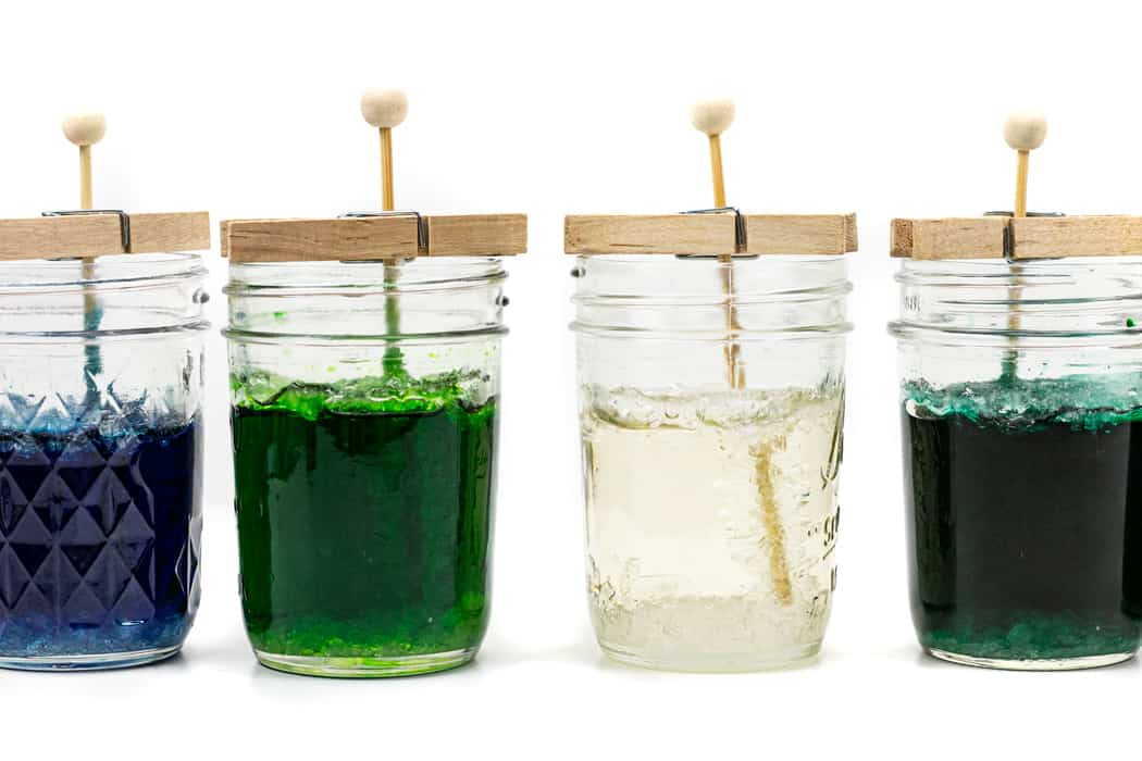 rock candy forming in a jar