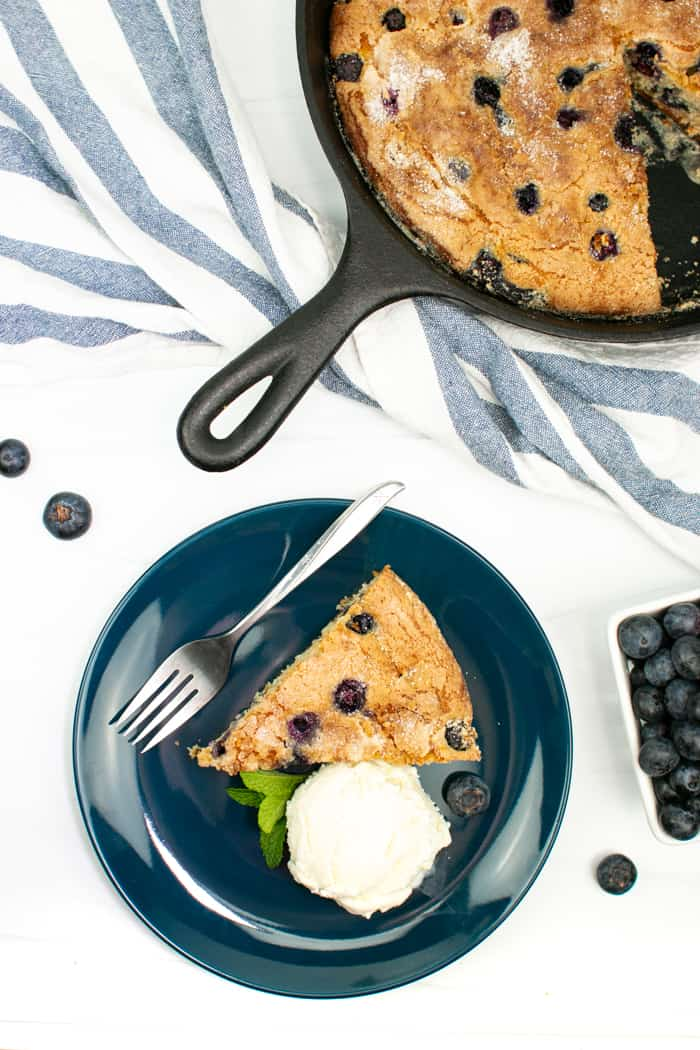 a top down view of the skillet blueberry coffee cake
