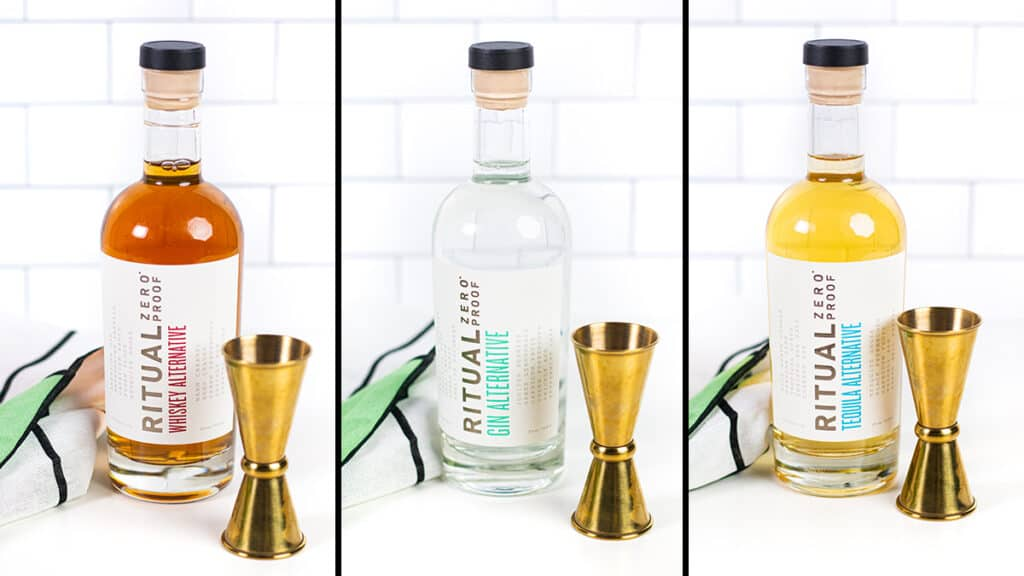 collage of three bottles of zero proof alcohol