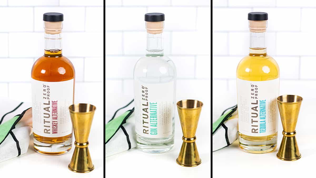 collage of three bottles of zero proof alcohol