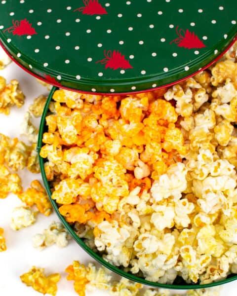 a green DIY christmas popcorn tin on a white background