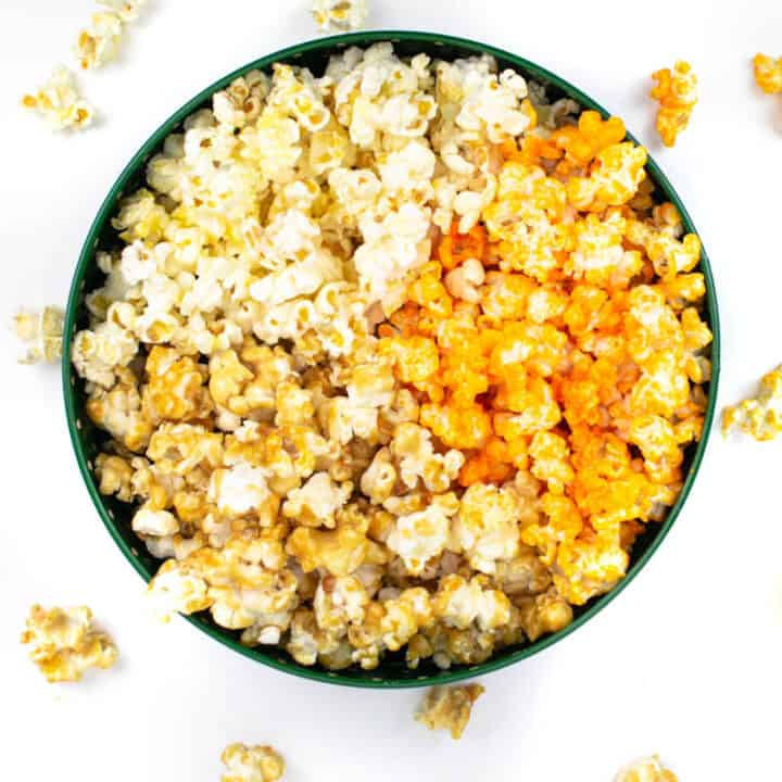 top view of a popcorn tin with three kinds of popcorn