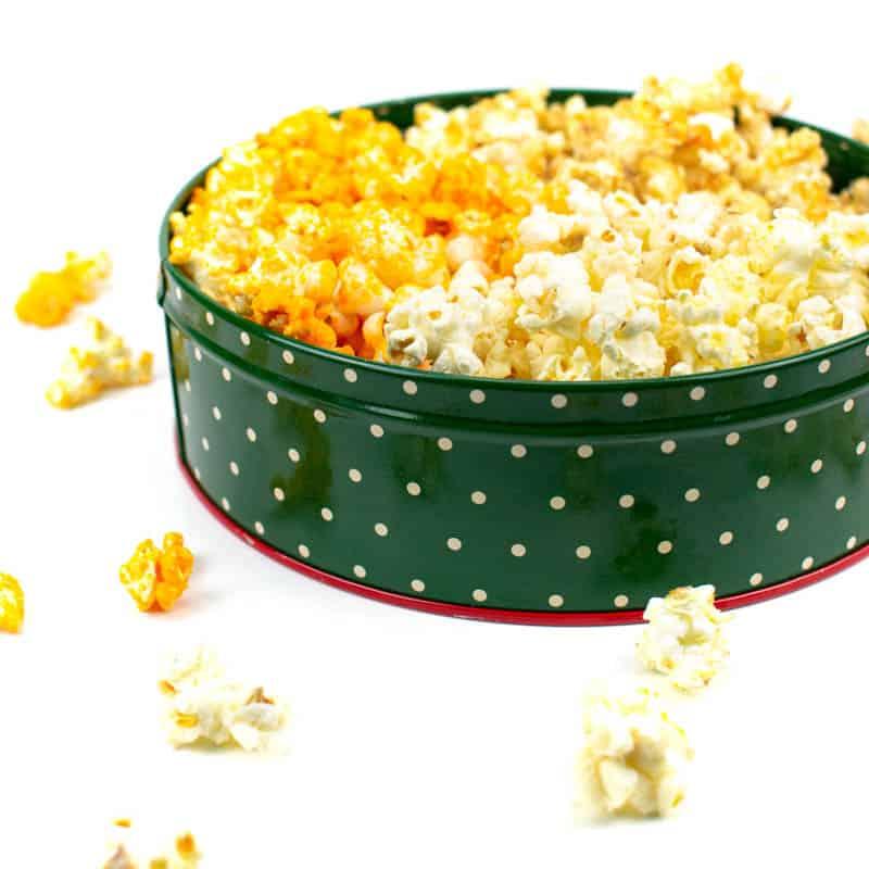 a polka dot christmas popcorn tin