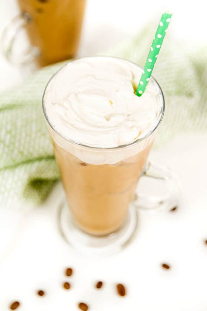 an iced irish coffee cocktails with coffee beans