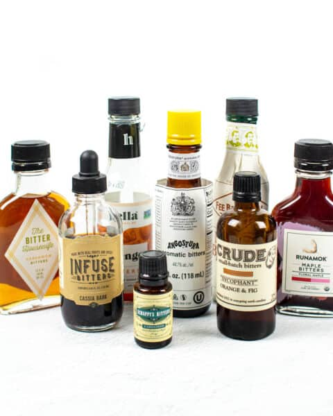bottles of bitters on a white background