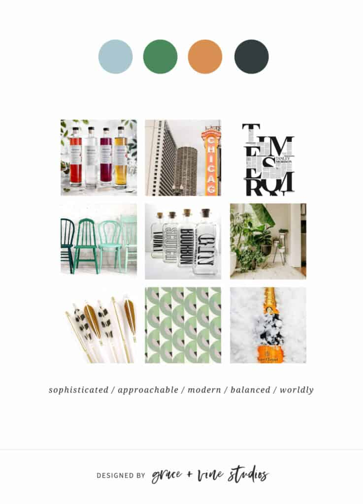 mood board depicting new colors of light blue, green, orange and black for feast + west