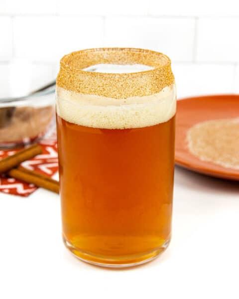 cinnamon sugar on the rim of a pumpkin beer