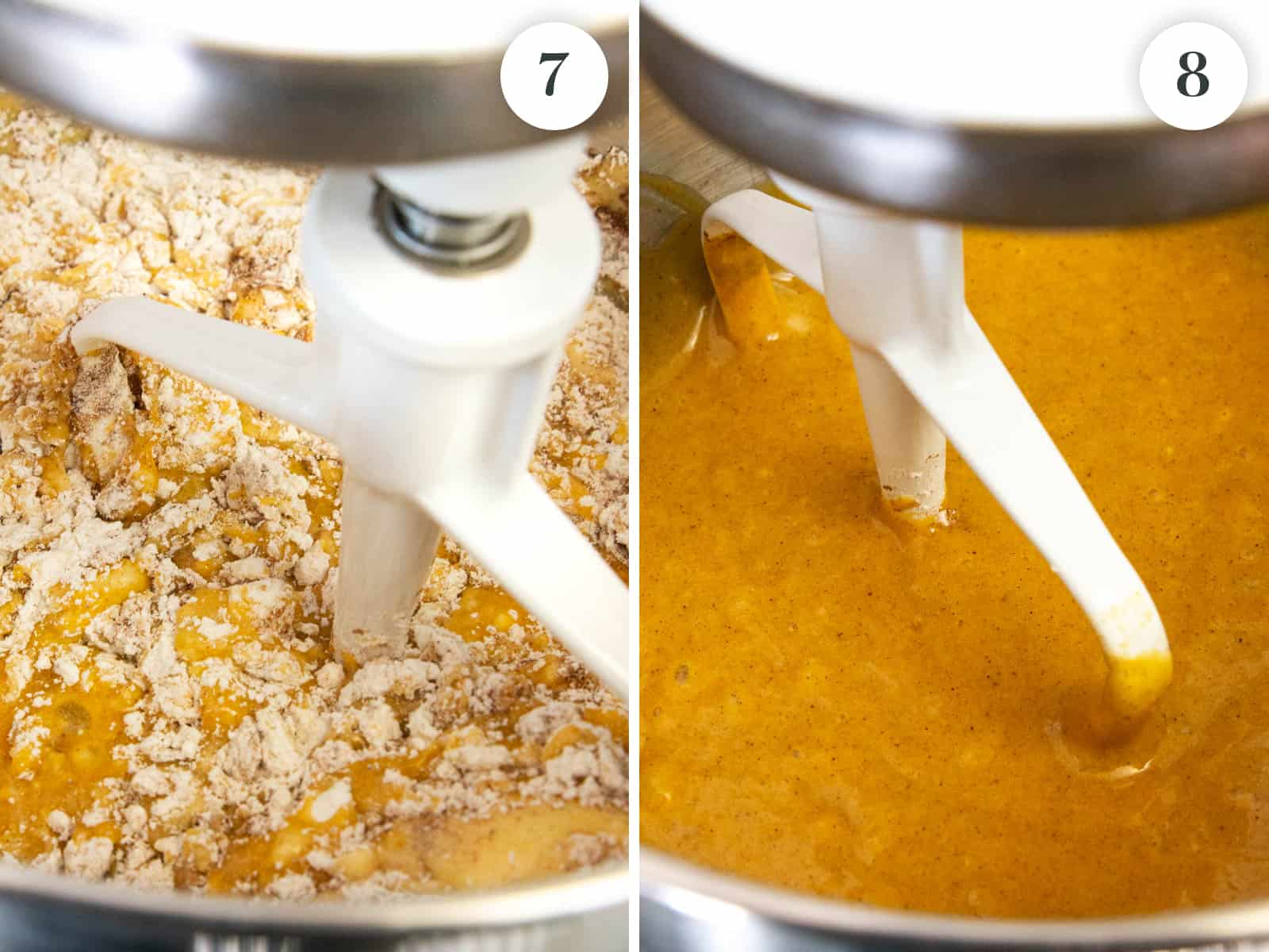 step by step photos showing the flour mixture mixing into the batter to achieve a thick consistency of batter