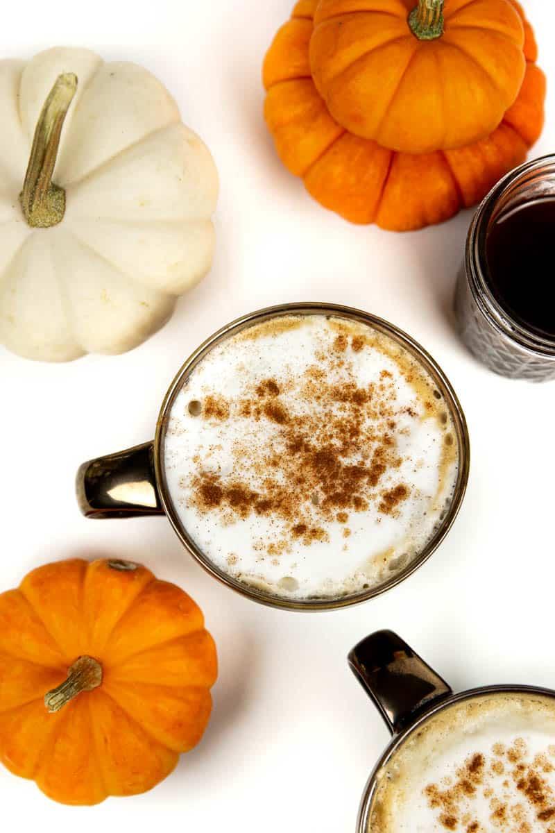 closeup of a pumpkin spice latte