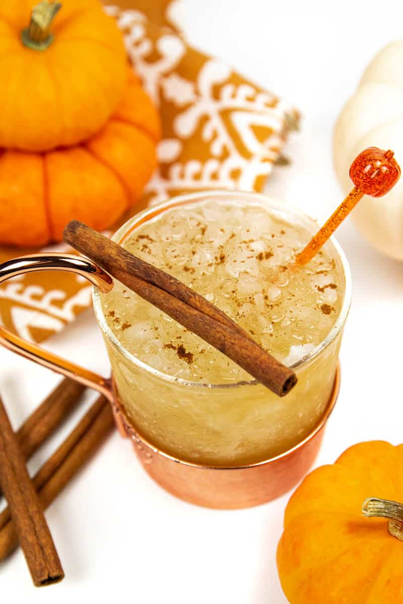 a pumpkin spice mule in a glass and copper mug with a cinnamon stick on top, surrounded by mini pie pumpkins